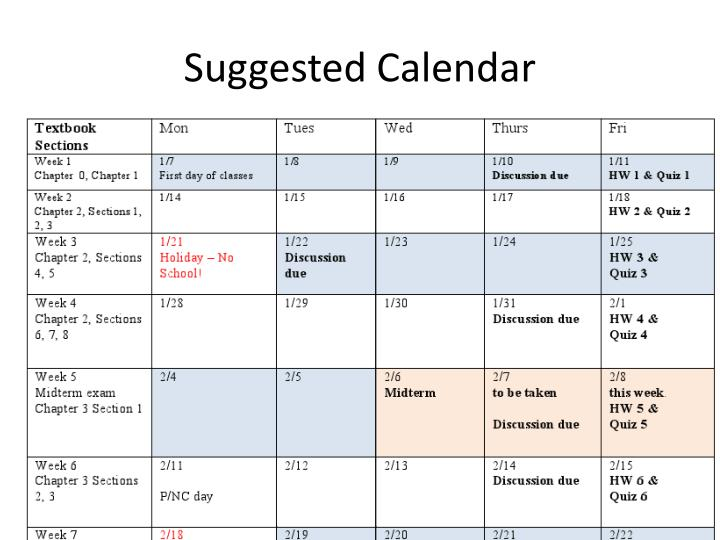Suggested Calendar