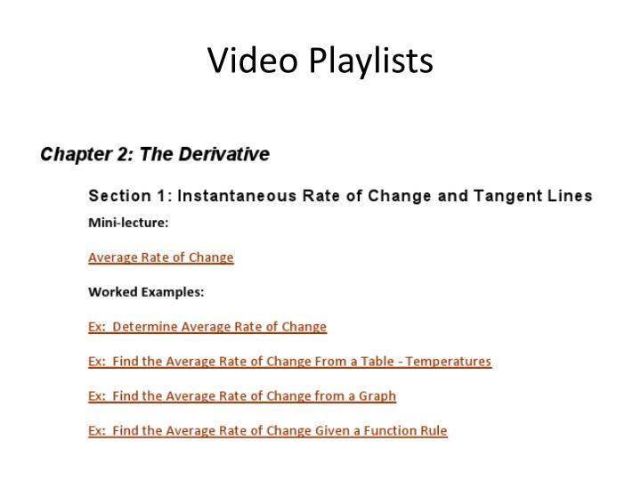 Video Playlists