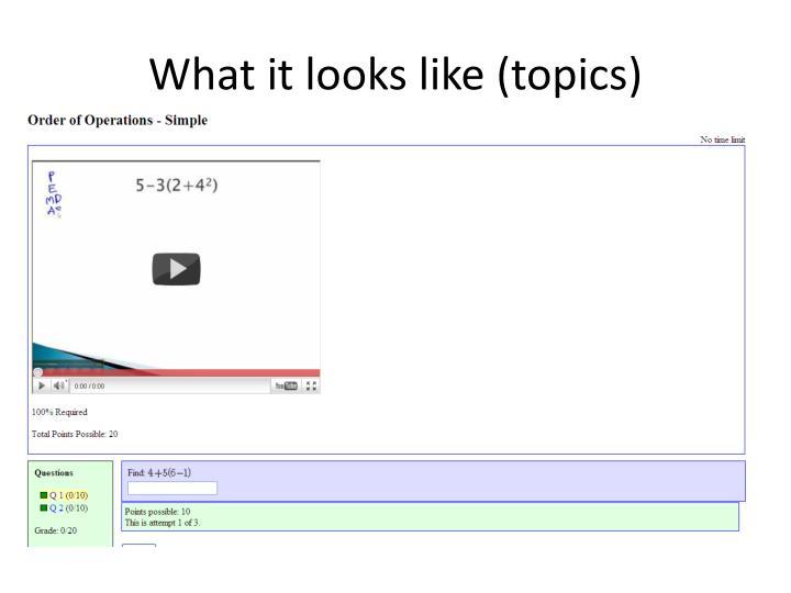 What it looks like (topics)