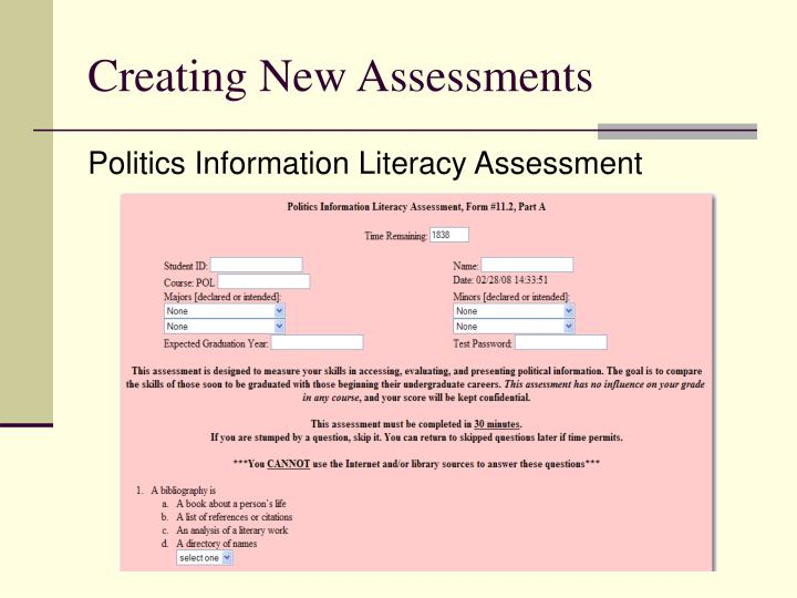 Creating New Assessments