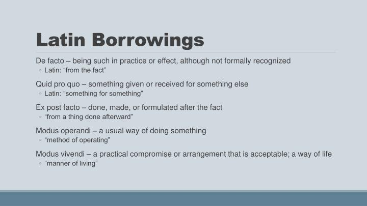Latin Borrowings