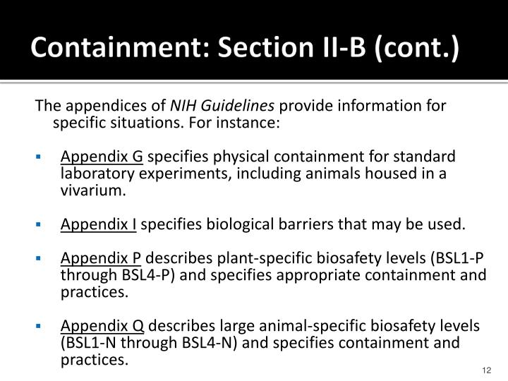 Containment: Section II-B (cont.)