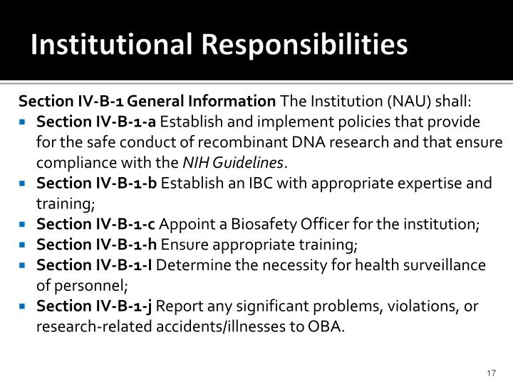 Institutional Responsibilities