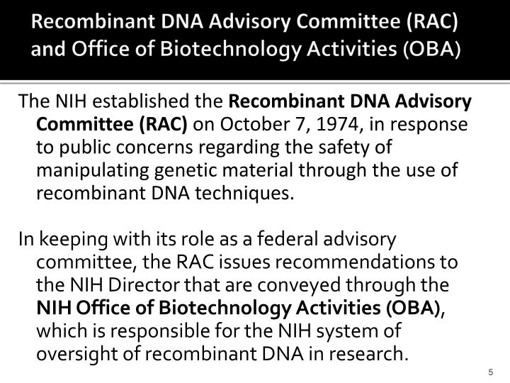 Recombinant DNA Advisory Committee (RAC)