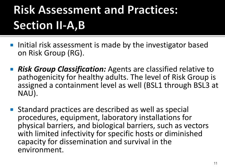 Risk Assessment and Practices: Section II-A,B