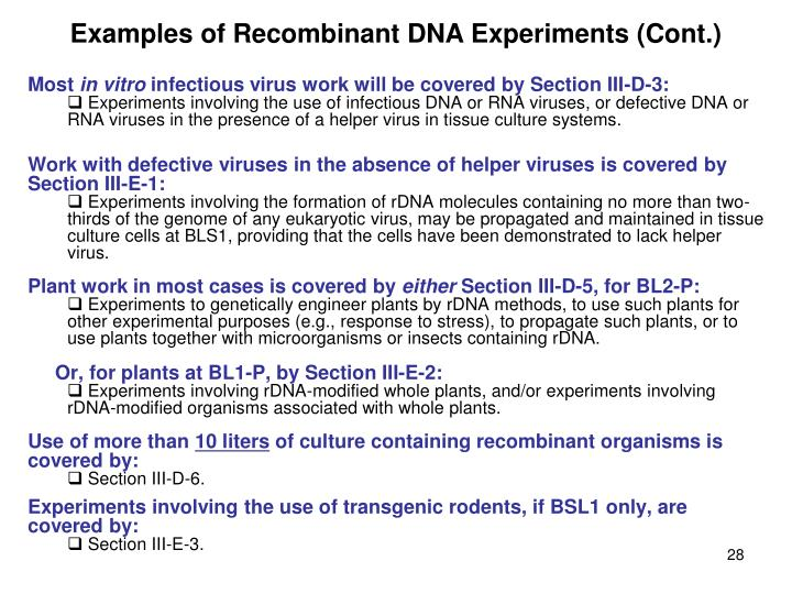 Examples of Recombinant DNA Experiments (Cont.)
