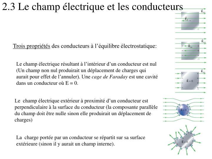 2.3 Le champ électrique et les conducteurs