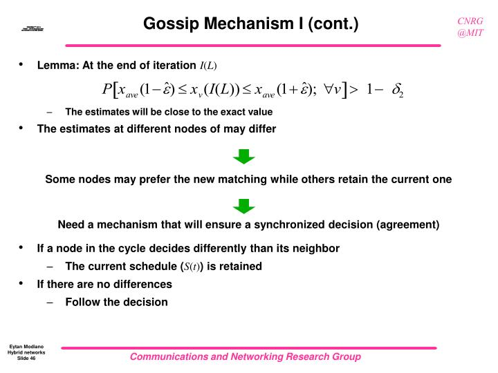 Gossip Mechanism I (cont.)