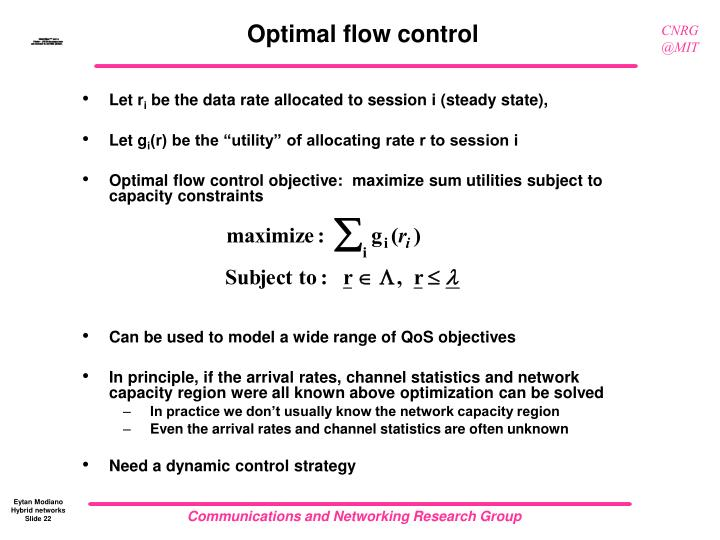 Optimal flow control