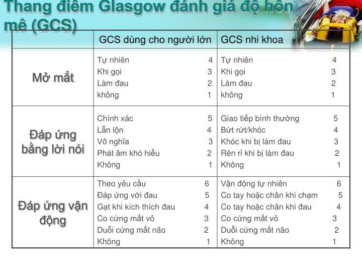 Thang điểm Glasgow đánh giá độ hôn mê (GCS)