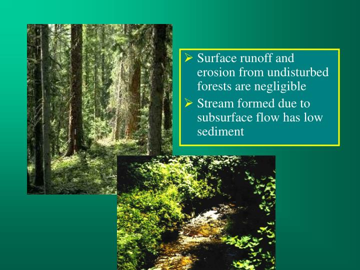 Surface runoff and erosion from undisturbed forests are negligible