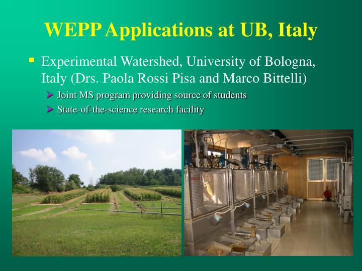 WEPP Applications at UB, Italy