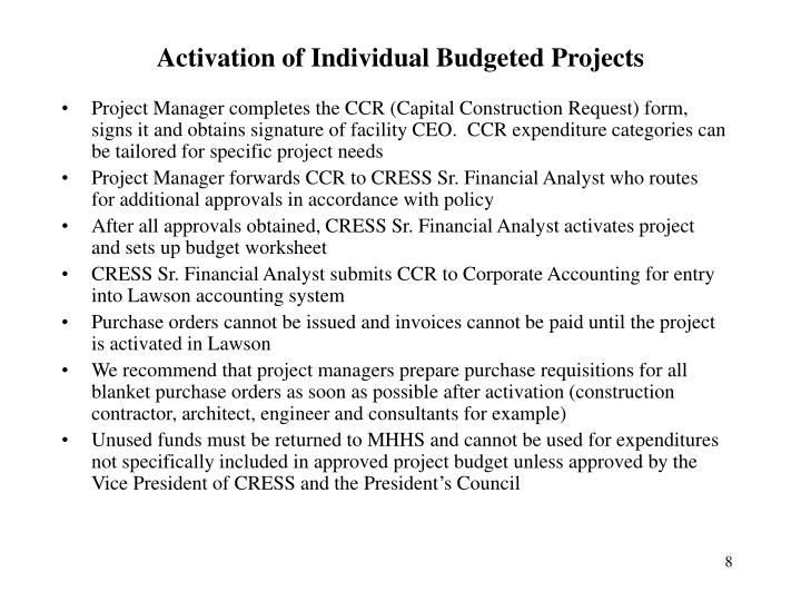 Activation of Individual Budgeted Projects
