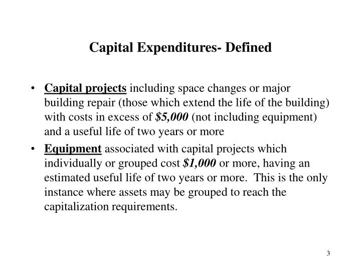 Capital expenditures defined