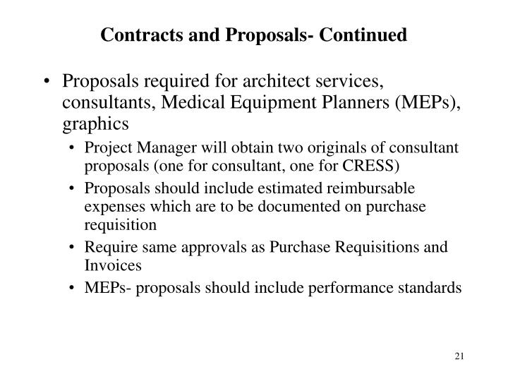 Contracts and Proposals- Continued