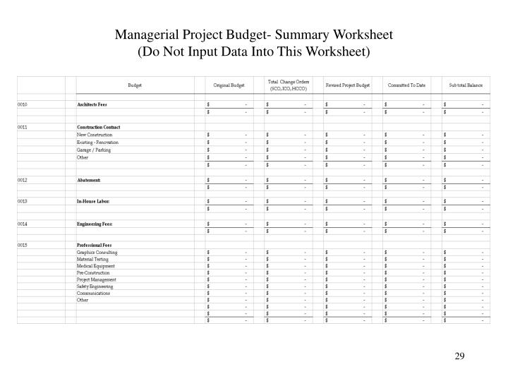 Managerial Project Budget- Summary Worksheet