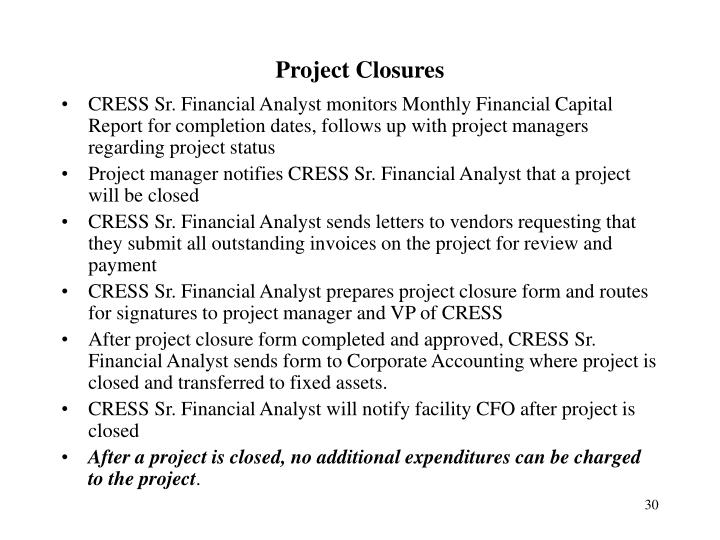 Project Closures
