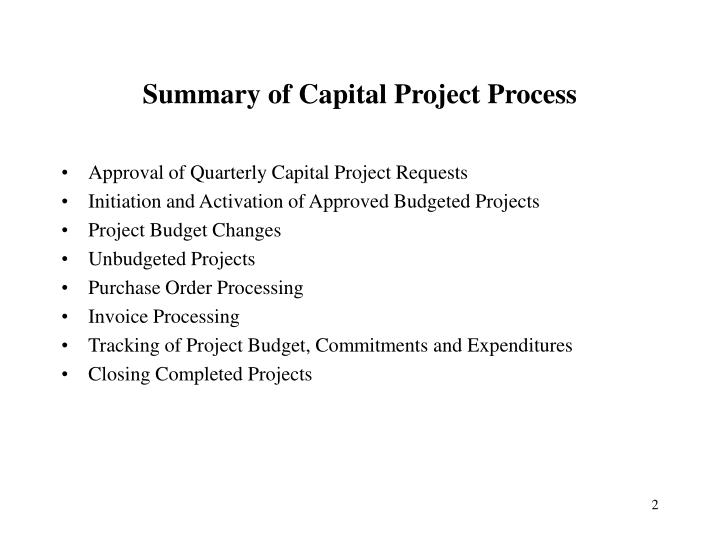 Summary of capital project process