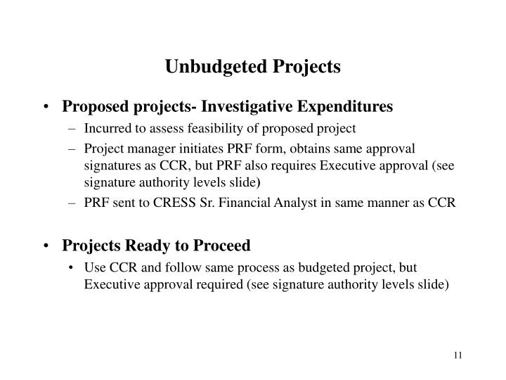 Unbudgeted Projects