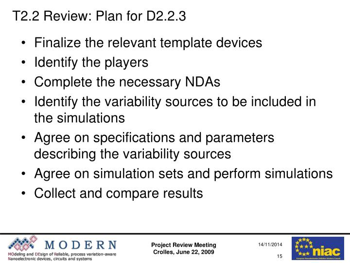 T2.2 Review: Plan for D2.2.3