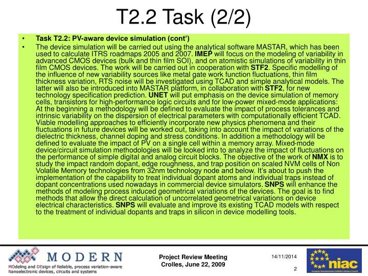 T2.2 Task (2/2)