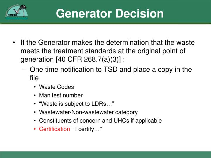 Generator Decision