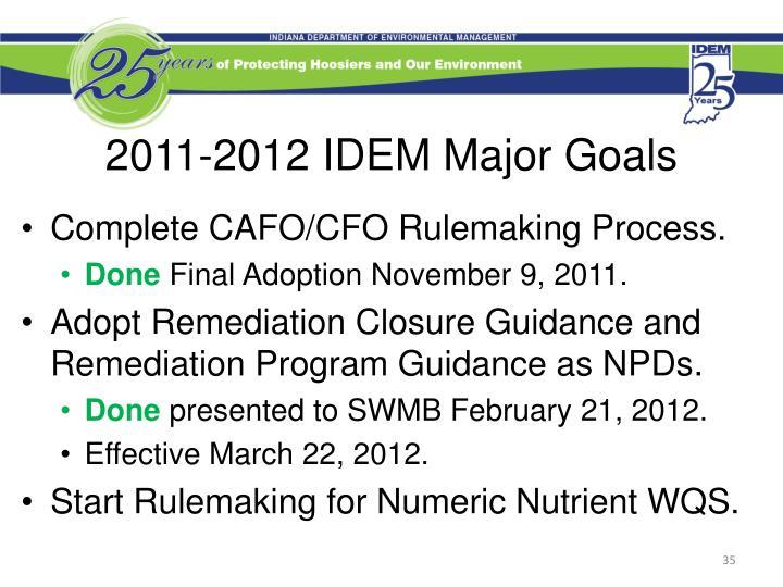 2011-2012 IDEM Major Goals