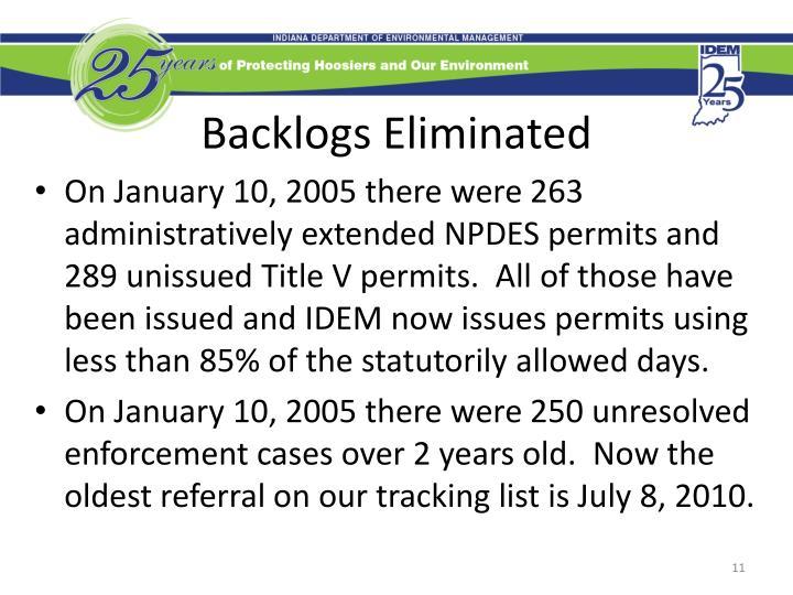 Backlogs Eliminated