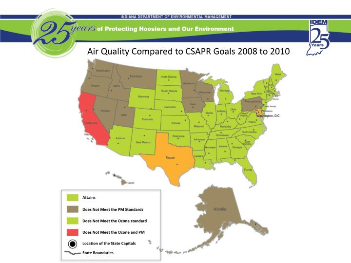 Air Quality Compared to CSAPR Goals 2008 to 2010
