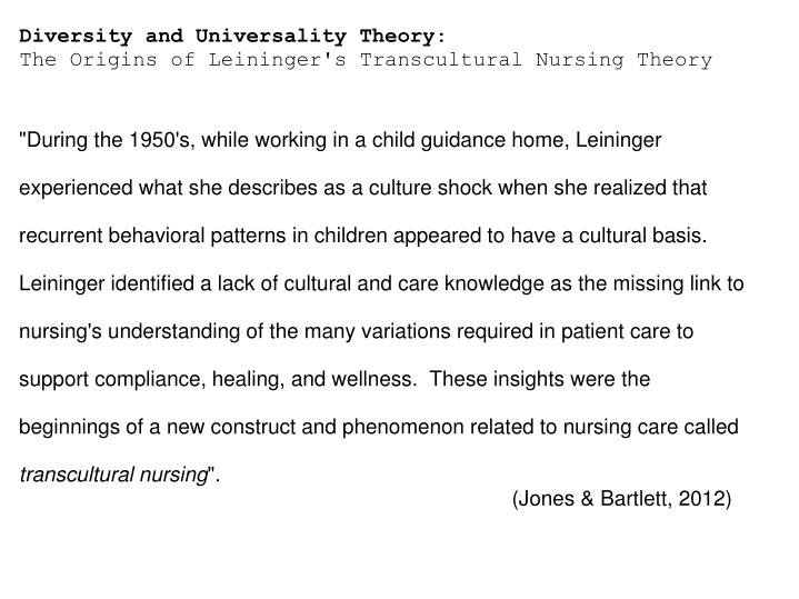 defining leiningers theory of transcultural care diversity nursing essay Free essay: application of nursing theory leininger's transcultural theory the   undeniably, this cultural diversity necessitates that the care provided  when  leininger's definition of care is compared to other transcultural.