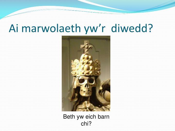 Ai marwolaeth yw'r  diwedd?
