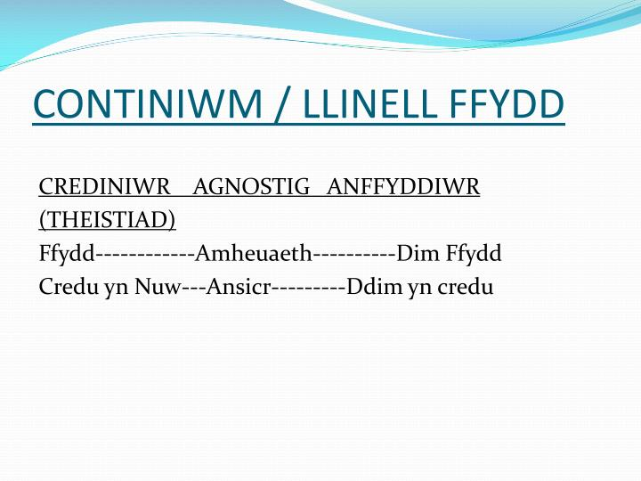 CONTINIWM / LLINELL FFYDD