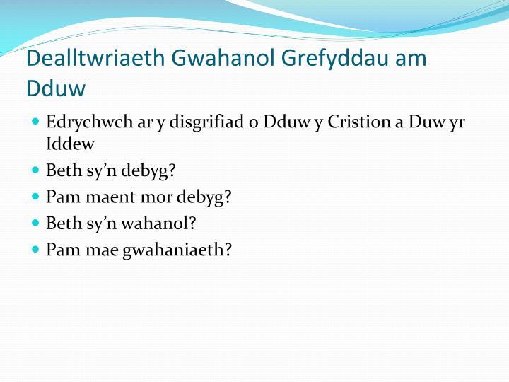 Dealltwriaeth Gwahanol Grefyddau am Dduw