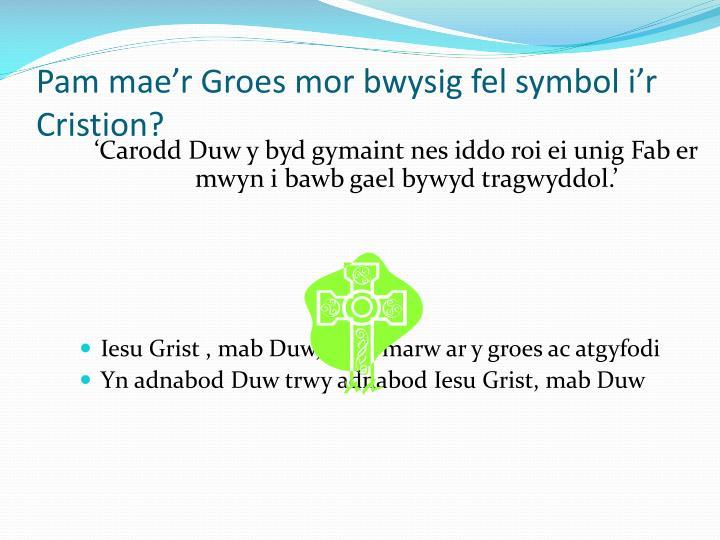 'Carodd Duw y byd gymaint nes iddo roi ei unig Fab er mwyn i bawb gael bywyd tragwyddol.'