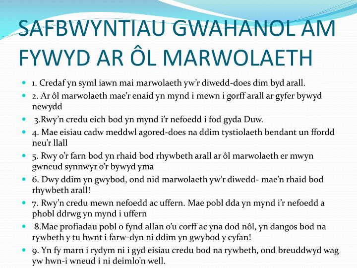 SAFBWYNTIAU GWAHANOL AM FYWYD AR ÔL MARWOLAETH