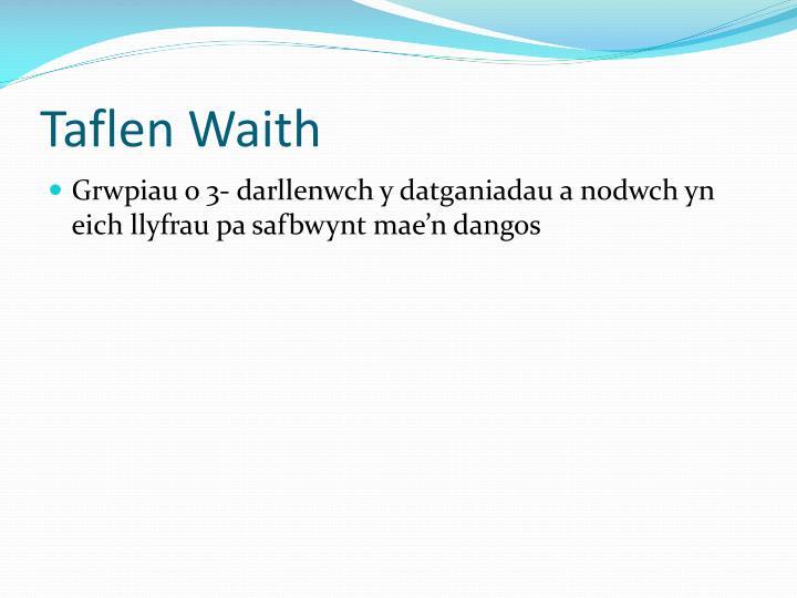 Taflen Waith