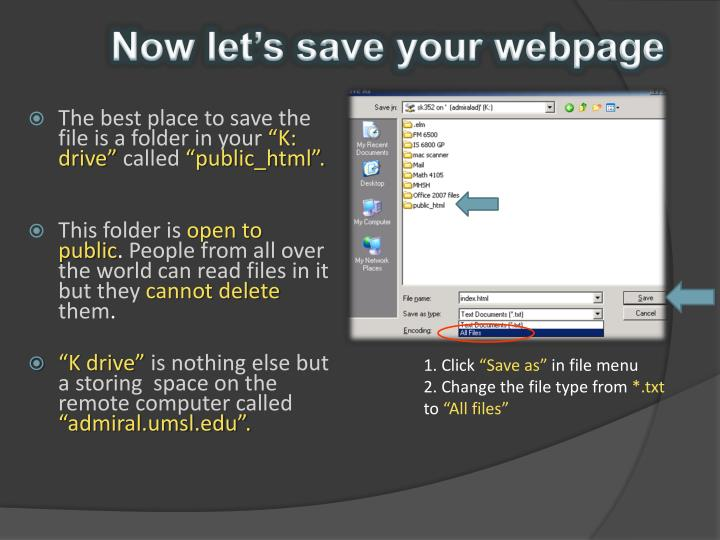 Now let's save your webpage