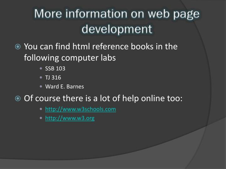 More information on web page development