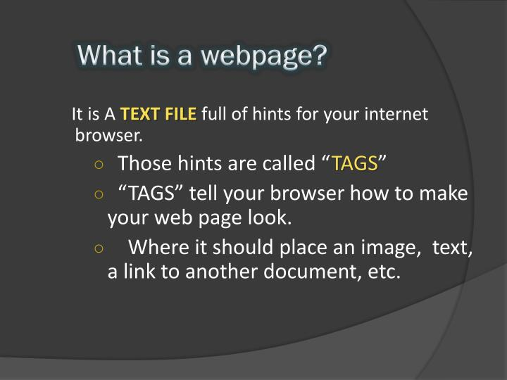 What is a webpage?