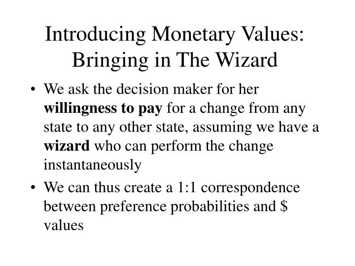 Introducing Monetary Values: Bringing in The Wizard