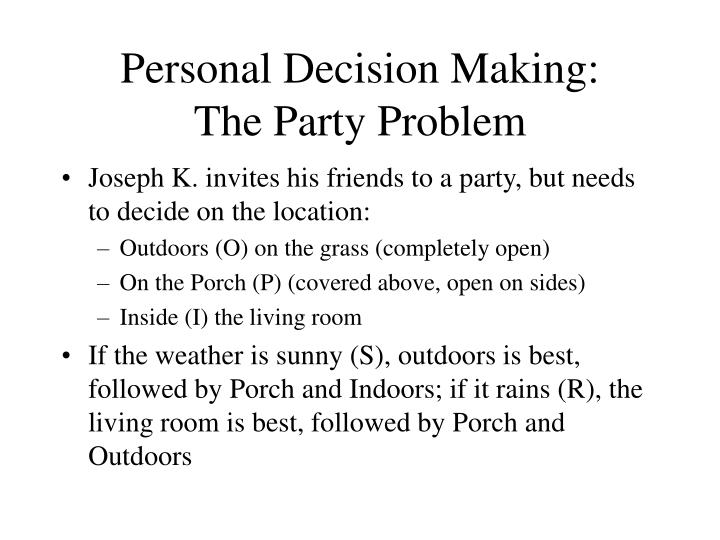 Personal decision making the party problem
