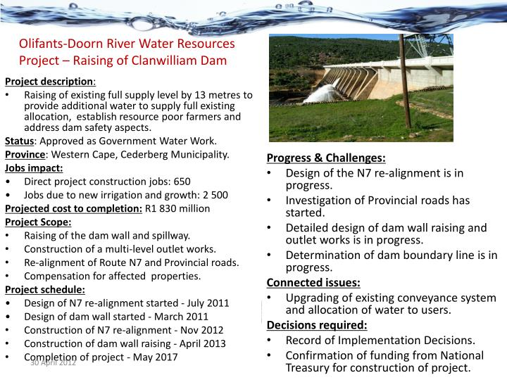 Olifants-Doorn River Water Resources Project – Raising of Clanwilliam Dam