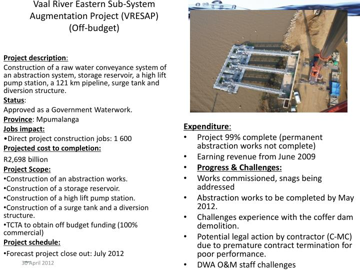 Vaal River Eastern Sub-System Augmentation Project (VRESAP)