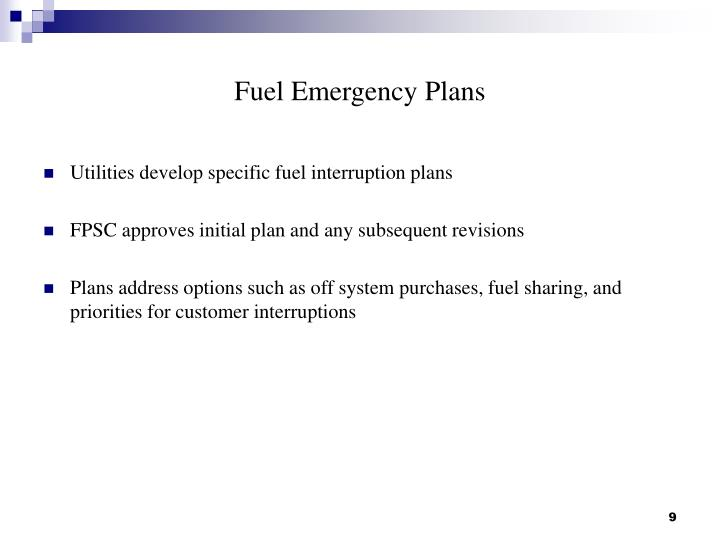 Fuel Emergency Plans