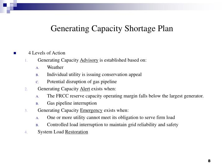 Generating Capacity Shortage Plan