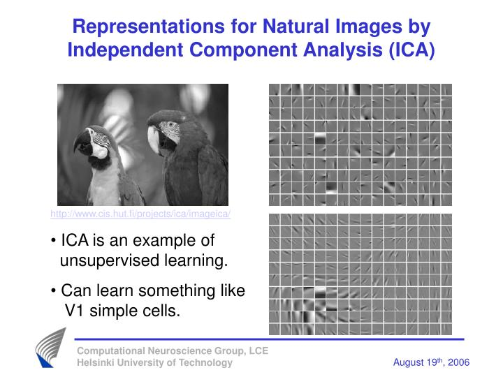 Representations for Natural Images by Independent Component Analysis (ICA)