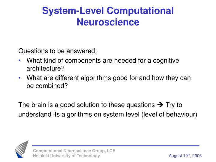 System-Level Computational Neuroscience