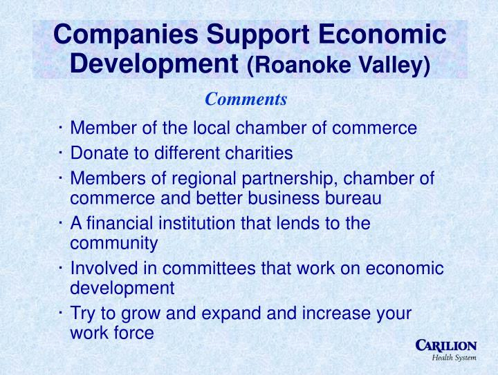 Companies Support Economic Development