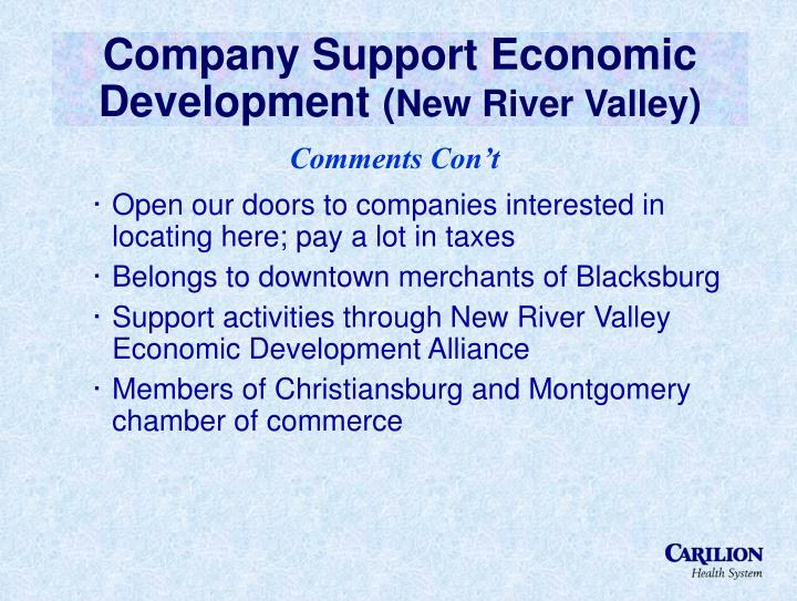 Company Support Economic Development