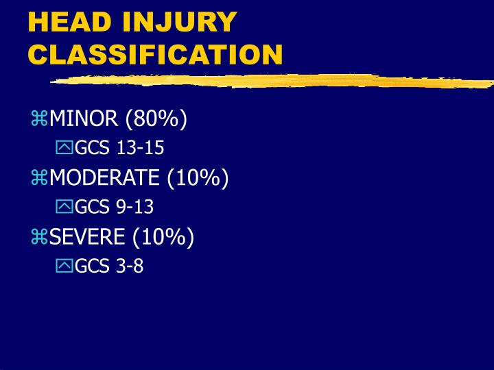 HEAD INJURY CLASSIFICATION